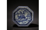 AN OCTAGONAL BLUE AND WHITE LANDSCAPE DISH