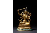 A RARE GILT BRONZE FIGURE OF TURQUOISE INLAID MANJUSHRI