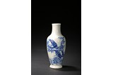 A BLUE AND WHITE 'PINE AND BIRD' VASE