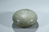 A CELADON JADE CARVED 'SHOU' COVER BOX