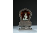 A RARE SILVER AND KESI INSCRIBED SHRINE WITH WHITE JADE BODHISATTVA