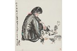 HUANG ZHOU: COLOR AND INK ON PAPER 'LADY' PAINTING