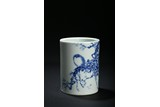 WANG BU: BLUE AND WHITE 'FLOWER AND BIRD' BRUSH POT