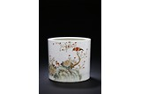 A QIANJIANG 'FLOWER AND BIRD' BRUSH POT
