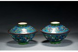 A PAIR OF CLOISONNE ENAMEL BOWLS WITH COVER