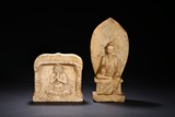 A GROUP OF TWO WHITE MARBLE BODHISATTVA STELES