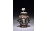 A SILVER WHITE JADE AND CORAL INLAID VASE