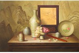 A FRAMED OIL ON CANVAS 'STILL LIFE' PAINTING