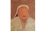A LARGE 'GENCHIS KHAN' OIL PAINTING