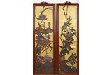 A PAIR OF HARDWOOD INLAID 'LOTUS AND CHRYSANTHEMUM' PANELS