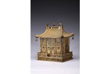 A GILT FILIGREE AND GEMS INLAID PALACE-FORM BUDDHIST SHRINE