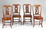 A SET OF FOUR CHINESE HARDWOOD MARBLE INLAID CHAIRS
