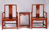 A PAIR OF HARDWOOD ARMCHAIRS AND STAND
