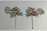 PAIR OF KINGFISHER FEATHER GILT SILVER 'PHOENIX' HAIR ORNAMENTS