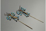 PAIR OF KINGFISHER FEATHER GILT SILVER 'DRAGONFLY' HAIR ORNAMENTS