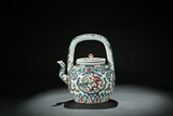 A WUCAI 'DRAGON AND PHOENIX' TEAPOT AND COVER