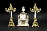 A SET OF FRENCH WHITE MARBLE AND GILT BRONZE GARNITURE