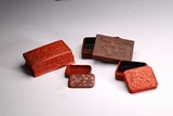 A GROUP OF FOUR CINNABAR LACQUER BOXES