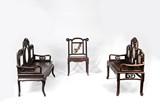A SET OF THREE ROSEWOOD MARBLE BENCHES AND CHAIR