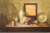 AN OIL ON CANVAS 'STILL LIFE' PAINTING