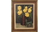 AN OIL ON CANVAS 'YELLOW ROSES' PAINTING
