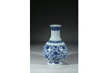A BLUE AND WHITE 'LOTUS' VASE