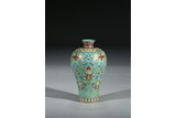 A TURQUOISE GROUND FAMILLE ROSE 'FLOWERS' VASE