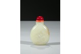 A WHITE JADE 'ORCHID' SNUFF BOTTLE