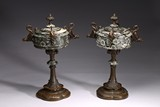 A PAIR OF FRENCH NEO-GOTHIC LIDDED URNS