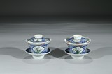PAIR OF FAMILLE ROSE UNDERGLAZED BLUE AND WHITE BOWLS
