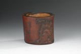 AN UNUSUAL CARVED BAMBOO BRUSHPOT