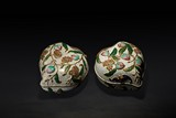 A PAIR OF CLOISONNE ENAMEL 'PEACH' BOXES