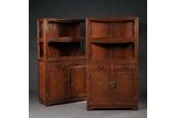 A PAIR OF HARDWOOD DISPLAY CABINETS