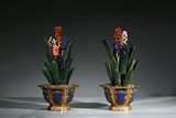 A PAIR OF GILT BRONZE 'GREEN JADE ORCHIDS' JARDINIERES