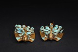 PAIR OF KINGFISHER PEARL INLAID 'PHOENIX' GILT SILVER HAIR ORNAMENTS