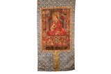 AN EMBROIDERED 'LAMA' THANGKA HANGING SCROLL