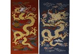 A PAIR OF KESI DRAGON EMBROIDERY PANELS