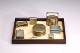 GROUP OF CHINESE SILVER SCHOLAR BOXES & ROSEWOOD MARBLE TRAY