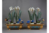 PAIR OF GILT BRONZE CLOISONNE AND HARDSTONE 'FLOWER' JARDINIERES