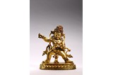 A VERY RARE GILT BRONZE INLAID VAJRAPANI