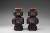 A PAIR OF OCTAGONAL ZITAN PAINTED LANTERNS
