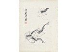 QI BAISHI: INK ON PAPER 'SHRIMP' PAINTING
