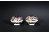 PAIR OF PAINTED PORCELAIN INK PASTE BOXES