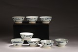 SET OF UNDERGLAZED BLUE AND WHITE BOWLS AND JARS