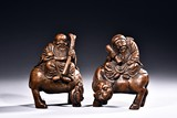 A PAIR OF BAMBOO CARVED FIGURES