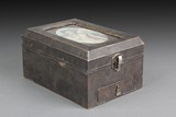 A SILVER FRAMED WOODEN JEWELRY BOX