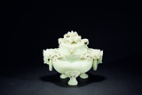 A WHITE JADE 'CHILONG' TRIPOD CENSER
