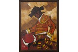 AN OIL PAINTING OF BULLFIGHTER
