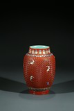 A CHINESE FAMILLE-ROSE IMITATION CINNABAR LACQUER VASE