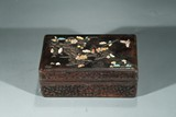 A CHINESE ZITAN HARDSTONE AND SILVER INLAID BOX